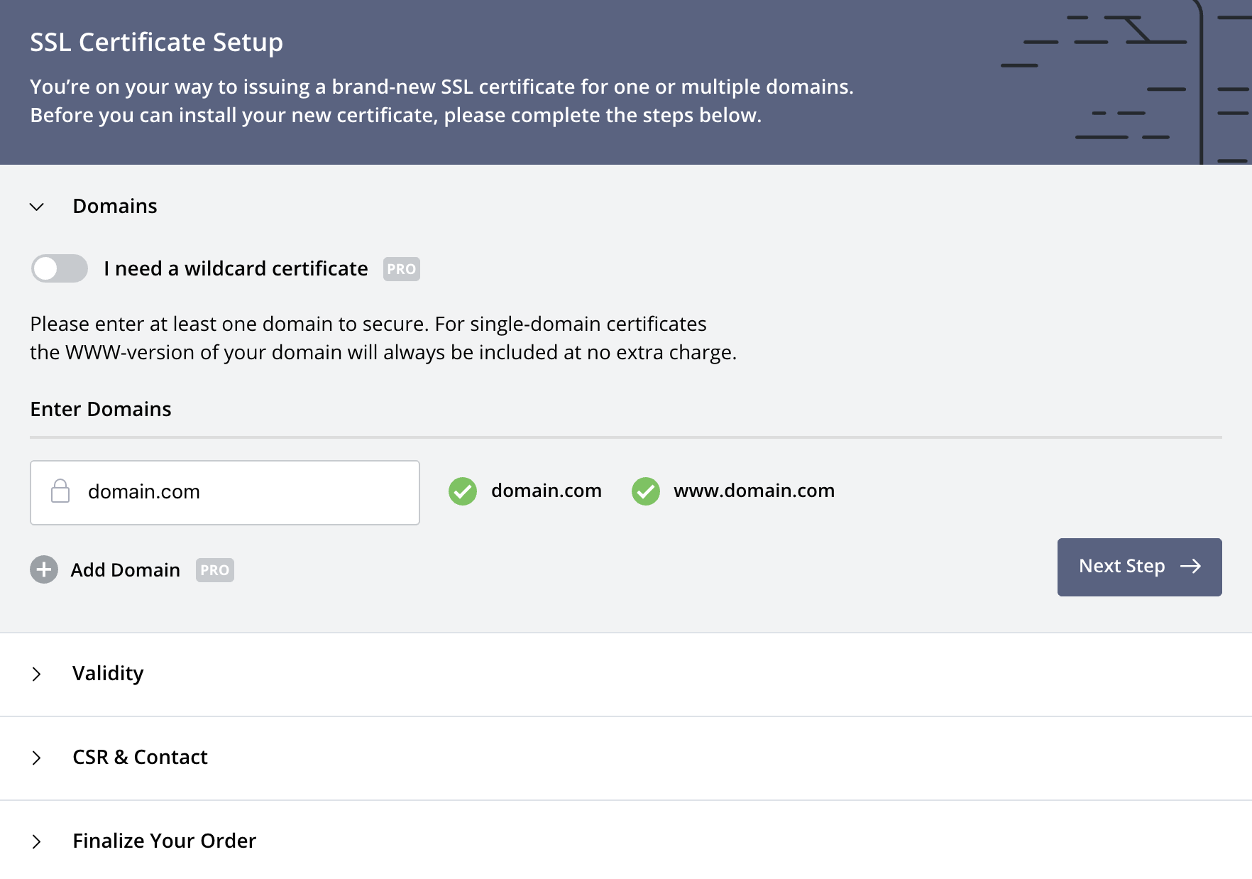 Create Certificate: Domains